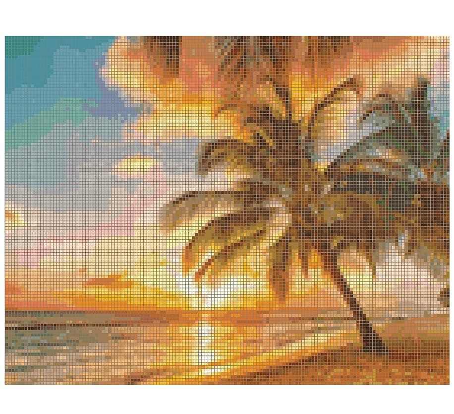 Gwen Street Designs Cross Stitch Pattern Printed Graph Sunset Paradise New X-Stitch