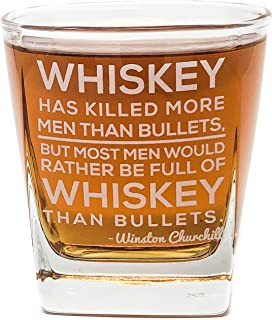 Winston Churchill Quote Whiskey Cocktail Glass, 10 oz