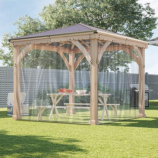 Cortina de lona transparente para exteriores, impermeable, resistente a la intemperie, para pérgola, porche, cenador, cabaña/interior con ojales ...
