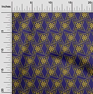 oneOone Cotton Poplin Fabric Floral Block Fabric Prints by Meter 56 Inch Wide