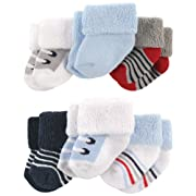 Luvable Friends Newborn Baby Terry Socks, 6 Pack, Boy Shoes, 0-3 Months