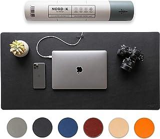 Nordik Leather Desk Mat Cable Organiser (Pebble Black 89 X 43 cm) Premium Extended Mouse Mat for Home Office Accessories -...
