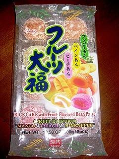 Kyoshin, Japanese Fruits Daifuku Mochi (Rice Cake), 3 Flavors; Mango, Peach & Pineapple, 10.58 oz