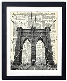 Brooklyn Bridge New York City Upcycled Vintage Dictionary Art Print 8x10