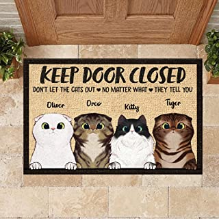 Personalized Doormat Don't Let The Cats Out - Indoor and Outdoor Doormat Warm House Gift Welcome Mat Funny Gift for Friend...