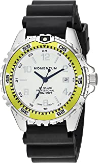 Momentum Women's Quartz Stainless Steel and Rubber Diving Watch, Color Black (Model: 1M-DN11LL1B)