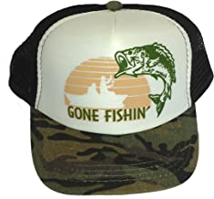 ThatsRad Toddler Kid's Gone Fishin Fishing Mesh Trucker Hat Cap Camouflage Camo
