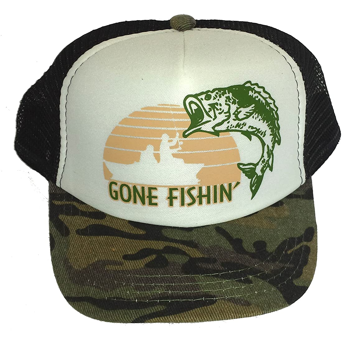 ThatsRad Toddler Kid's Gone Fishin Fishing Mesh Trucker Hat Cap Camouflage Camo