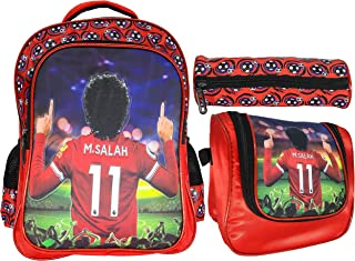Mohamed Salah School Backpack For Kids Boy Red 16 Inch Include Lunch bag And Pencil Pouch