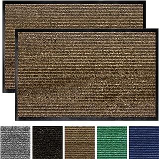 Gorilla Grip Original Low Profile Rubber Door Mat, 29x17, Pack of 2, Durable Doormat for Indoor and Outdoor, Waterproof, Easy Clean, Home Rug Mats for Entry, Patio, High Traffic, Brown