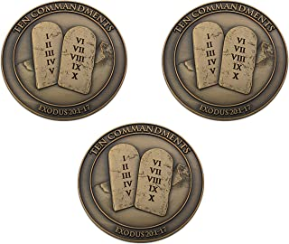 Ten Commandments Coin, Bulk Pack of 3, I Am The Lord Your God, Exodus 20:1-7, Memory Verse Pocket Token, Antique Gold Plat...