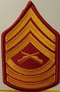 Master Sergeant USMC Rank Insignia Embroidered Iron-On Patch Emblem Red Border