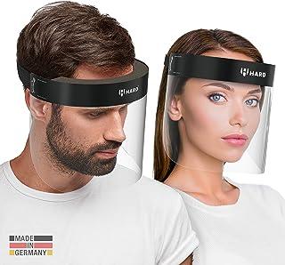 HARD 2x Pro visor Visiera protettiva, Certificato medico, Schermo facciale di sicurezza Antinebbia Face Shield, Prodotto in Germania, Adulti - Nero/Nero