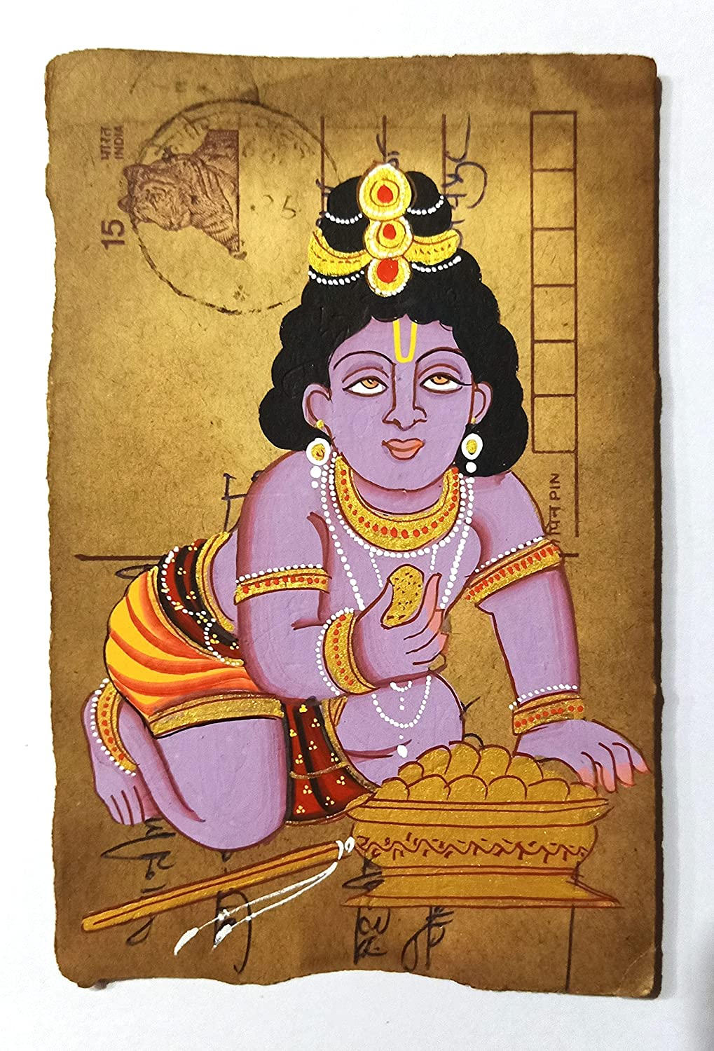 Lord Krishna Handmade Miniature Cheap mail Cheap super special price order sales Painting Card on Post Old Small