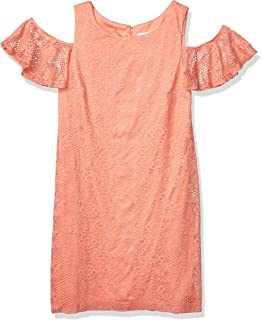 Sandra Darren Women's 1 Pc Cold Shoulder All Over Lace Shift Dress