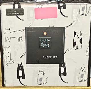 Cynthia Rowley CATS DRAWINGS Sheet Set - KING SIZE (microfiber)