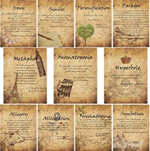 11 Pieces Vintage Elements of English Language and Literature Posters for Middle School and High School Classroom Decorations or Homeschool Supplies