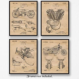 Original Harley Davidson Patent Poster Prints, Set of 4 (8x10) Unframed Photos, Wall Art Decor Gifts Under 20 for Home, Office, Man Cave, College Student, Teacher, American Motorcyles Touring Fan