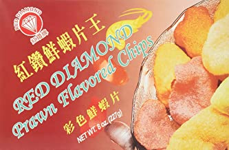 Red Diamond Prawn Flavored Chips (Colored Shrimp Chips) 8 Oz. 1 Box