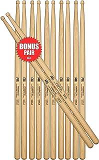 Meinl Stick & Brush Drumsticks, Hybrid 5B Half Brick (6 Pairs, 5 Plus 1 FREE) - American Hickory with Acorn/Barrel Shape Wood Tip - MADE IN GERMANY (SB107-6)