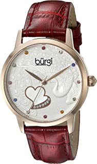 Burgi Women's BUR149 Quartz Watch with Swarovski Crystal Accented Dial and Embossed Leather Strap