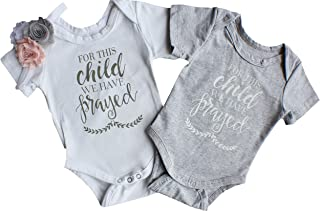 1c42b14cb Perfect Pairz Boy Girl Twin Onesie - for This Child We Have Prayed