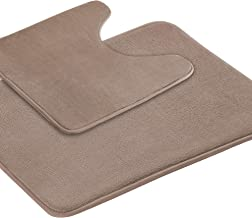 Bath Rug Set Memory Foam Soft Bath Mat Set Soft Non Slip Bath Mat and U-Shaped Toilet Floor Rug Taupe with Non Slip Rubber...