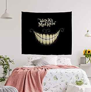 BJHAP Black Tapestry Wall Hanging Blanket with Smiling White Teeth We're Ah Mad Here Wall Tapestry Fabric Wall Hanging Decor for Bedroom Living Room Dorm 80 x 60 Inches