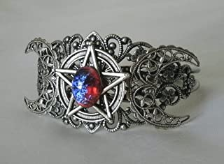 Dragons Breath Fire Opal Triple Moon Pentacle Cuff Bracelet, handmade jewelry wiccan pagan wicca goddess witch witchcraft pentagram