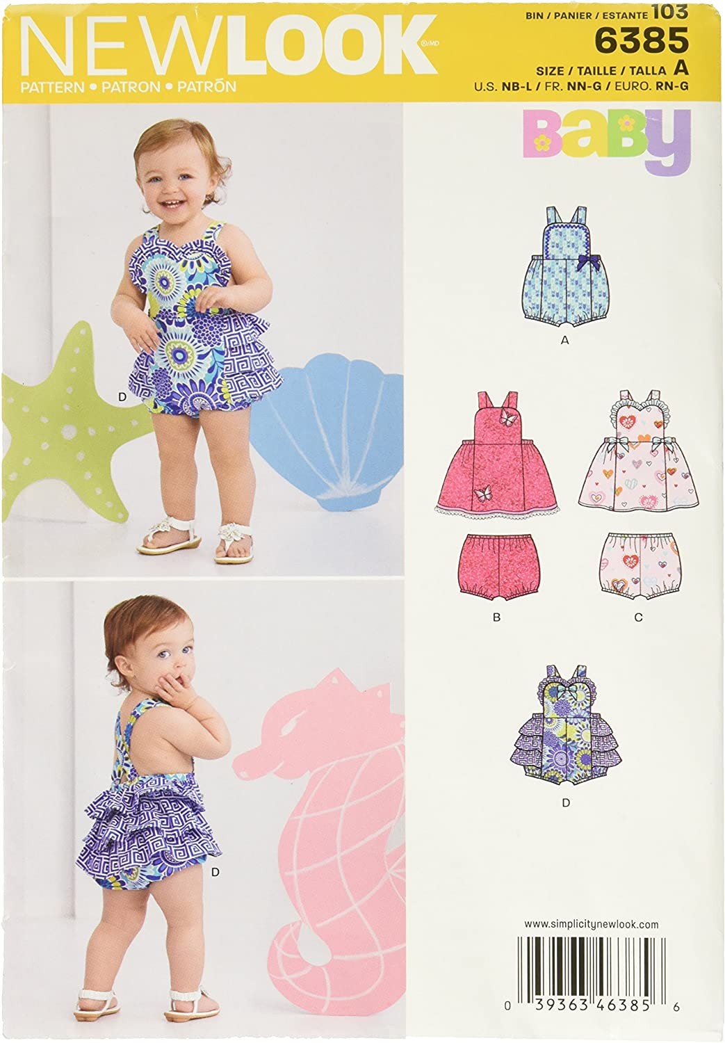 New Look 6385 Babies' Dress Oklahoma City Mall Romper Panties and Size Ranking TOP16 Sewing Kit