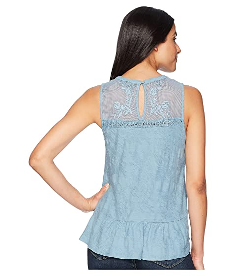 Lucky Brand Tiered Jacquard Tank Top Provincial Blue Best Place Good Selling Sale Online 2018 Unisex Online NalWdvB