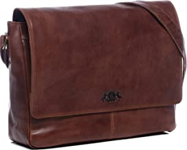SID & VAIN Laptoptasche Messenger Bag echt Leder Spencer | Vintage-Look | XL groß Business 15 Laptop Umhängetasche Ledertasche Herren