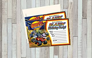 12 BLAZE & the MONSTER MACHINES Birthday Invitations (12 5x7in Cards, 12 matching envelopes)