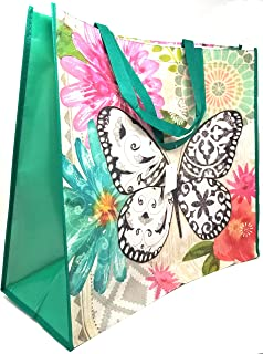 ReBagMe Extra Large Laminated Recycled Shopper Tote- Very Large Gift Bag- Extra Large Grocery Bag - Great Waterproof Beach Bag (Butterfly, 1)