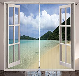 Ambesonne Tropicals Curtains, Open Windows with Tropic Island Beach View and Dreamy Summer Vacation Scenery Design, Living Room Bedroom Window Drapes 2 Panel Set, 108