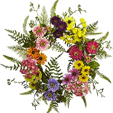 Nearly Natural 4581 Mixed Flower Wreath