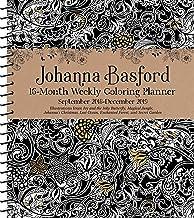Johanna Basford 2018-2019 16-Month Coloring Weekly Planner Calendar