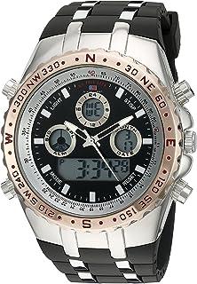 الولايات المتحدة الأمريكية بولو اسن ساعة يد كوارتز انالوج ورقمية للرجال مع سوار من المطاط US9373