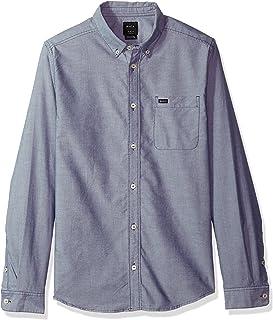 RVCA Men's Long Sleeve Button Down Slim Fit Oxford Woven Shirt