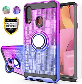 Galaxy A20S Case,Galaxy A20S Phone Case(Not Fit A20) with HD Screen Protector,AYMECL Ring Holder Gradient Dual Layer Protective Case for Samsung Galaxy A20S 6.5 inch-BG Purple&Blue