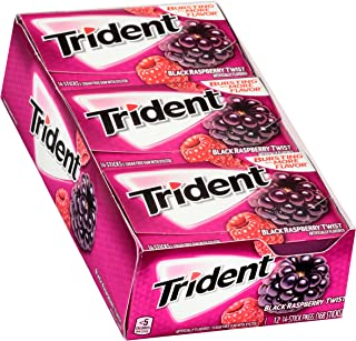 Trident Black Raspberry Twist Sugar Free Gum - with Xylitol - 12 Packs (168 Pieces Total)