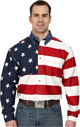 Roper - Stars & Stripes Pieced Flag Shirt L/S