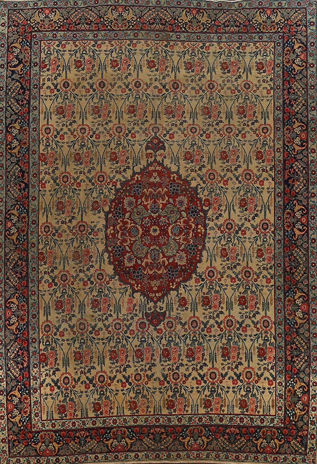 Pre-1900 Antique Floral Fixed price for sale Vegetable Dye Area H Oriental Rug Tebriz Indianapolis Mall