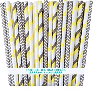 Outside the Box Papers Gray and Yellow Stripe and Chevron, Polka Dot Paper Straws 7.75 Inches 75 Pack Gray, Yellow, White