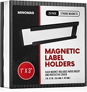 Minomag Magnetic Label Holders | Full Set of Slot Loading Data Card Holders for Metal Shelf, Whiteboard, 1-inch by 3-inches, (Set of 25)