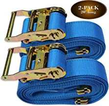 TWO 2 x 20' E Track Ratcheting Strap Heavy Duty Cargo TieDowns Durable Blue Polyester Tie-Down Ratchet Straps ETrack Spring Fittings Tie Down Motorcycles Trailer Loads by DC Cargo Mall