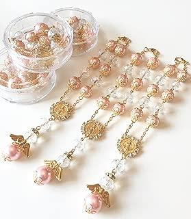 12 Baptism Pink/Gold Angel Favors Bracelet Party Favors Bautizo Recuerdos Angel Bracelet