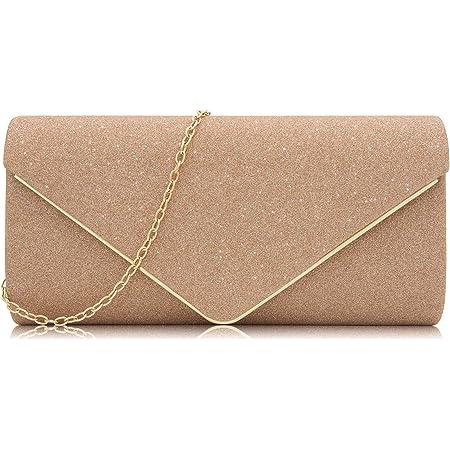 Milisente Damen Abendtasche Glitter Clutch Mit Kette Hochzeit Schultertasche Elegante Handtasche (Rose Gold)