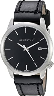 Women's Quartz Watch | Logic 36 by Momentum | Stainless Steel Watches for Women | Sports Watch with Japanese Movement & Analog Display | Water Resistant Women's Watch with Date - Black/Black Leather