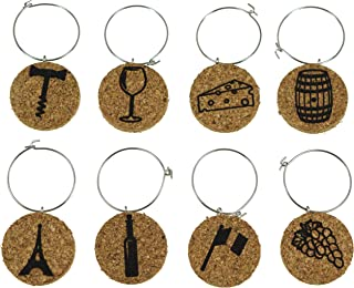 Cork Wine Glass Charms (20+ Unique Sets) - Set of 8 - Wine Inspired Designs: Bottle, Cheese, Barrel, French Flag, Grapes, Eiffel Tower - Tags to Mark Your Drinks (Wine)